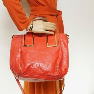 Auth Chloe Red Leather Crossbody Bag #1053O78